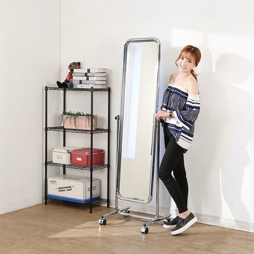 佳美 省空間附輪隨心移動立鏡(1入)鏡 穿衣鏡 化妝鏡
