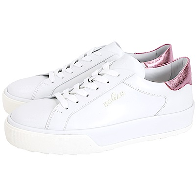 HOGAN H320 金屬粉冰裂紋細節白色繫帶休閒鞋