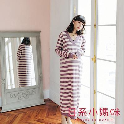 日系小媽咪孕婦裝-正韓孕婦裝 舒適自在條紋V領針織洋裝