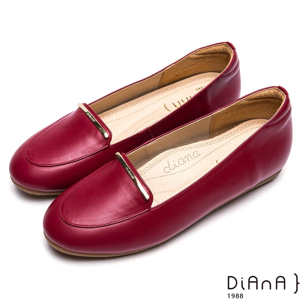 DIANA 漫步雲端厚切焦糖美人-時尚簡約真皮平底樂福鞋-紅