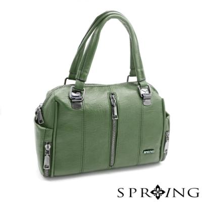 SPRING - 個性大拉鍊皮革手提包 -質感綠
