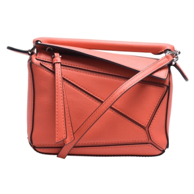 LOEWE PUZZLE BAG系列小牛皮幾何拼接設計手提/肩背包(迷你-橘色)