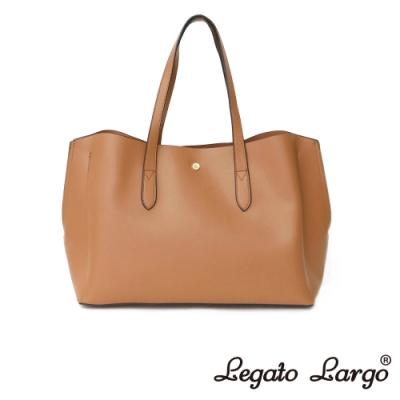 Legato Largo 驚異的輕量化 小法式輕便簡約 流線型剪裁手提袋 焦糖駝色