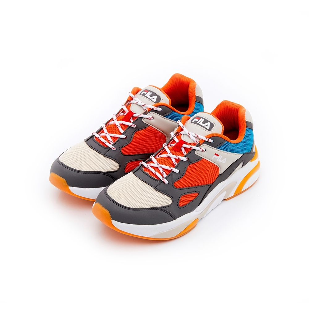 FILA #肆意極線 中性慢跑鞋-灰/紅 4-J526T-423