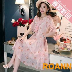 休閒風V領透膚碎花印花短袖洋裝 (共二色)-ROANN