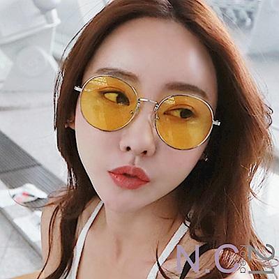 N.C21-金屬細框亮色反光面墨鏡(黃色)