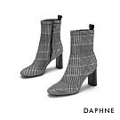 達芙妮DAPHNE  中筒靴-方頭粗跟後提帶中筒靴-格紋灰