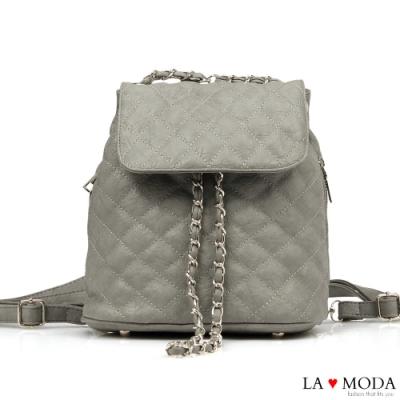 La Moda 一秒換背法~小香風菱格紋大容量多背法肩背斜背後背包(灰)