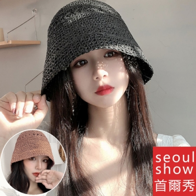 seoul show首爾秀 水桶草帽手工編織優質紙草防曬遮陽帽