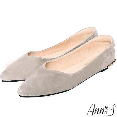 Ann'S天使的眼淚-後跟珍珠顯瘦V口全真皮尖頭平底鞋-灰
