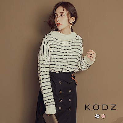 東京著衣-KODZ 法國女人最愛條紋高領針織上衣(共二色)