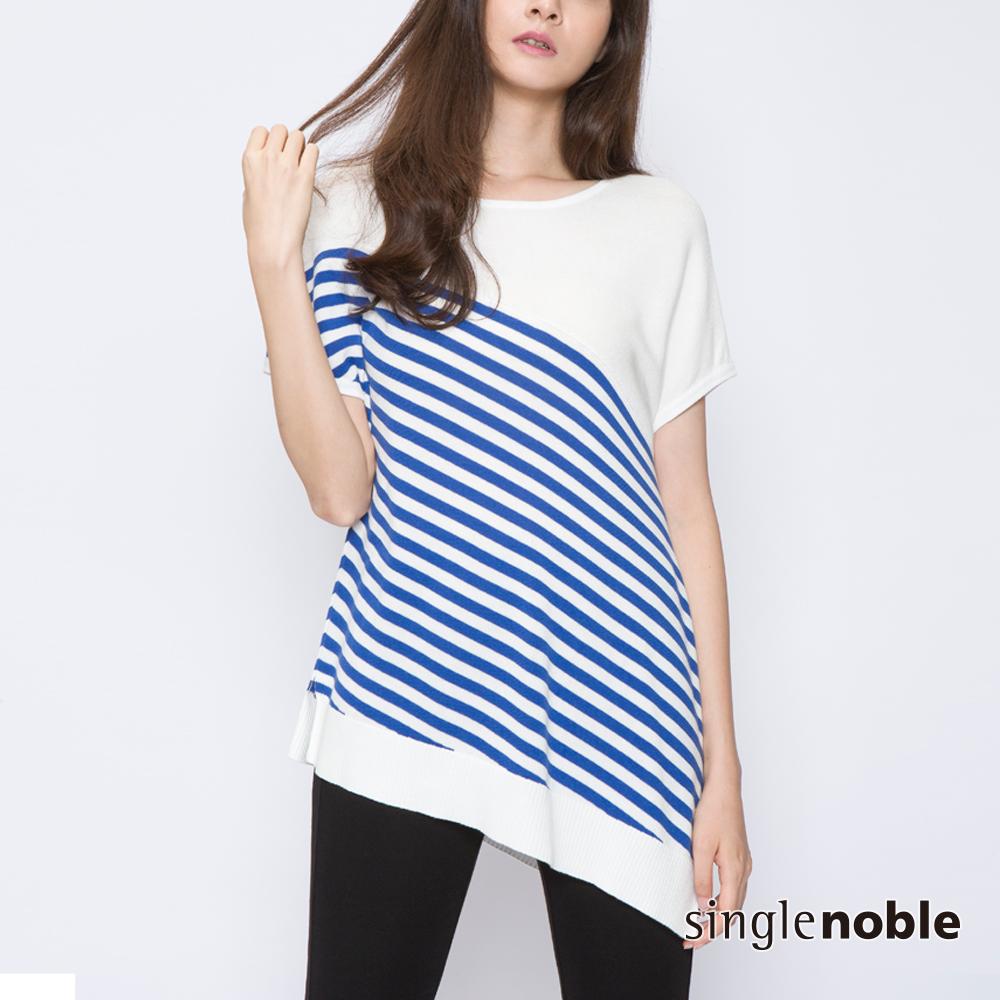 獨身貴族 大勢女子斜剪裁條紋針織衫(2色)