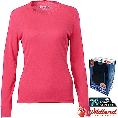 Wildland 荒野 H2663-09桃紅色 女Highest圓領保暖衣 發熱衣