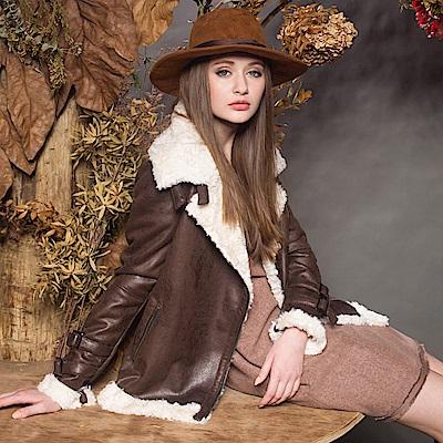 【Kinloch Anderson金安德森女裝】羔羊絨騎士領皮衣外套