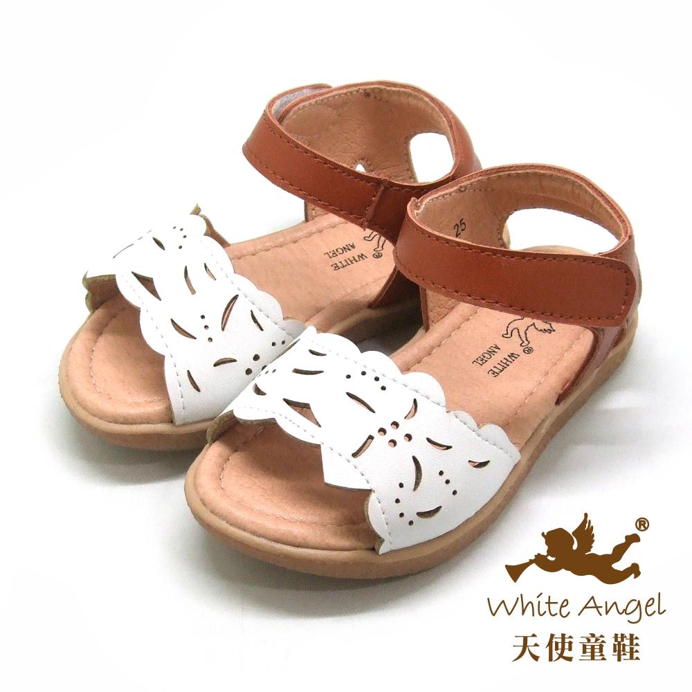 天使童鞋 涼夏花語涼鞋(小童)i922-白