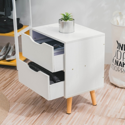 樂嫚妮 北歐二抽床頭邊櫃/收納櫃/電話櫃-暖白色