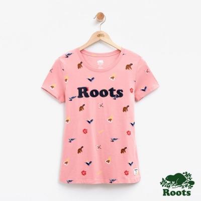 女裝Roots 露營滿版印花短袖T恤-粉