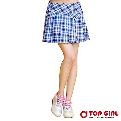 【TOP GIRL】清純天使格紋百摺短裙-亮眼藍
