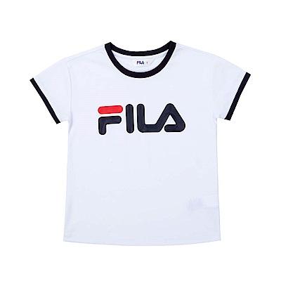 FILA KIDS 童短袖吸濕排汗上衣-白色 5TET-4504-WT