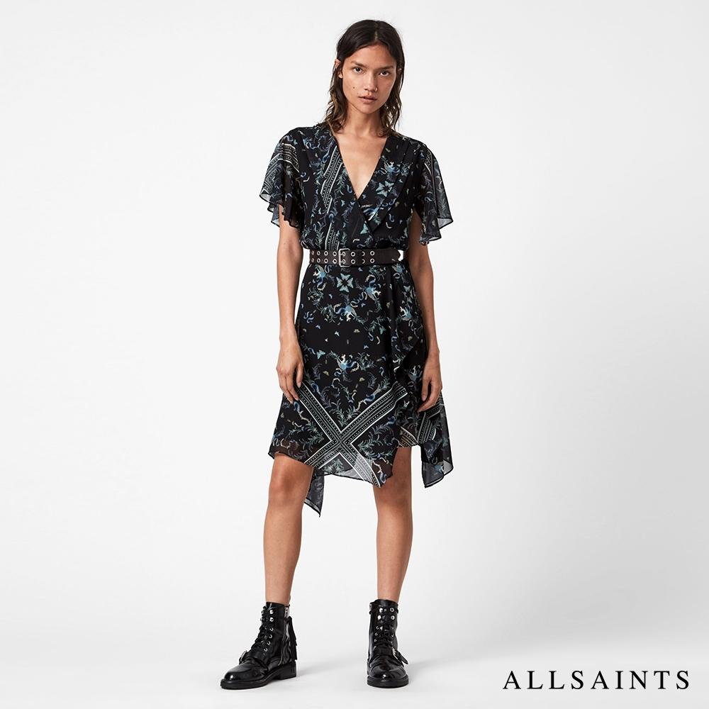 ALLSAINTS  KAIYA 優雅V領摺邊不對襯裙擺印花短洋裝-黑