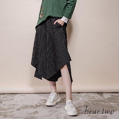 beartwo 條紋不對稱顯瘦設計裙式寬褲(二色)