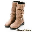 River&Moon中靴-金扣顯瘦抓皺工程騎士靴-卡其色