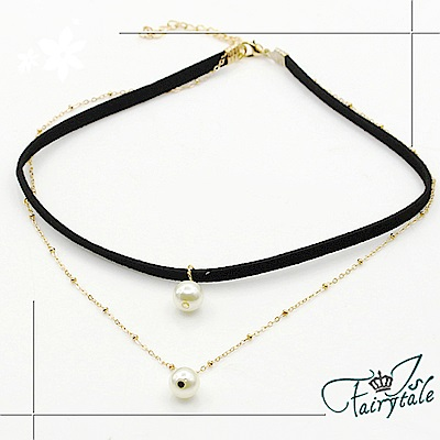 iSFairytale伊飾童話 個性黑皮繩 雙層珍珠頸項鍊
