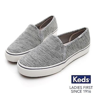 Keds DOUBLE DECKER 斜紋布面休閒便鞋-淺灰