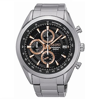 SEIKO CS時尚新美學計時腕錶/黑面x玫瑰金/8T67-00A0K