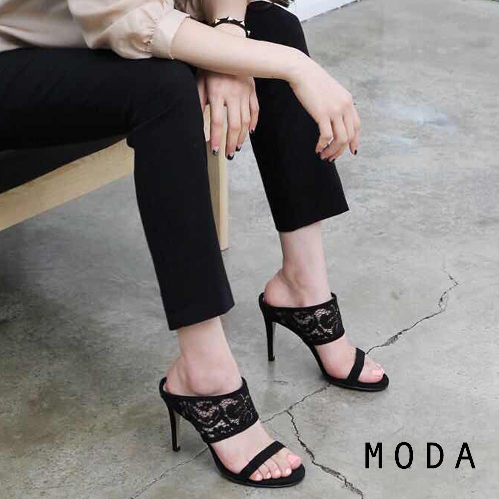 MODA高跟鞋 正韓蕾絲設計露趾高跟涼鞋(黑色)