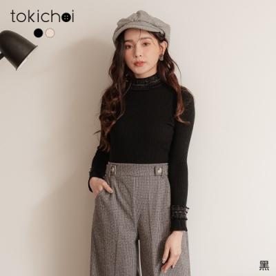 東京著衣 浪漫輕柔蕾絲高領坑條唯美上衣