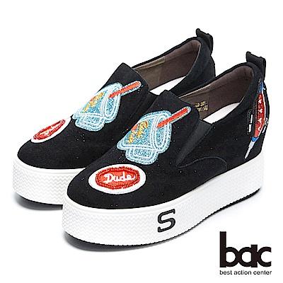 【bac】街頭運動 - 童趣減齡勳章貼布厚底懶人休閒鞋