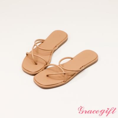 Grace gift-交叉夾腳細帶平底涼拖鞋 奶茶杏