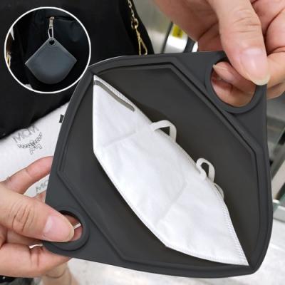 創意可掛式矽膠口罩小物收納袋(加贈防塵口罩10片組)
