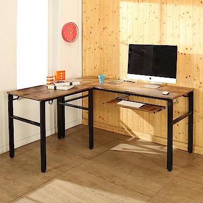 BuyJM低甲醛復古風L型160+80公分單鍵盤穩重附插座工作桌-DIY