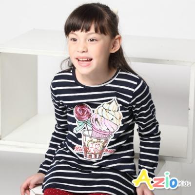 Azio Kids 女童 上衣 冰淇淋棒棒糖亮片條紋長版上衣 (藍)