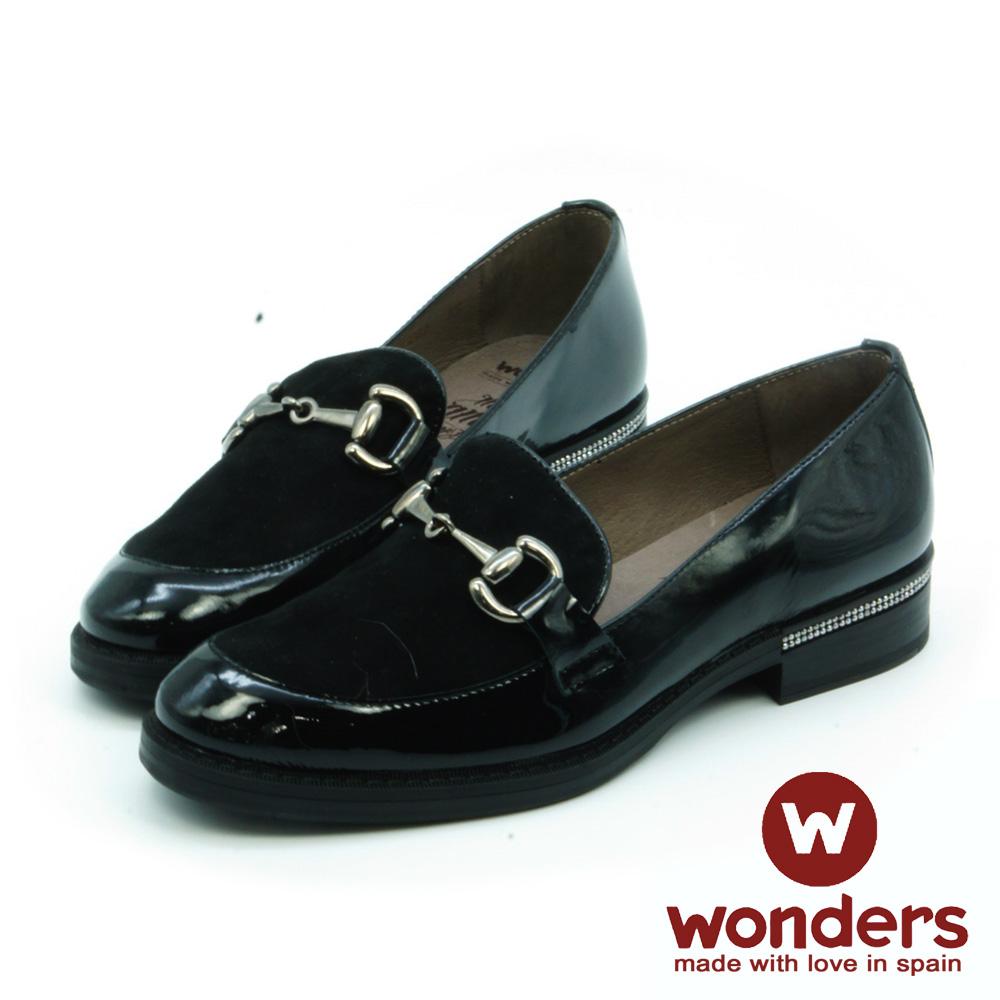 WONDERS-麂皮拼接飾釦樂福鞋-黑色