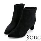 GDC-時髦巴黎尖頭設計感極簡風秋冬中跟短襪靴-黑色