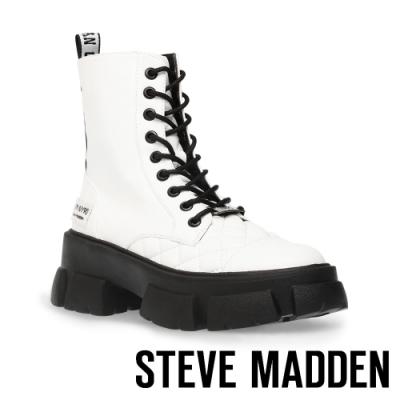 STEVE MADDEN-TANGA ROCK BOTTON 經典綁帶厚底中筒靴-白色