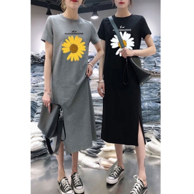 2F韓衣-簡約太陽花開衩造型洋裝-2色(M-2XL)