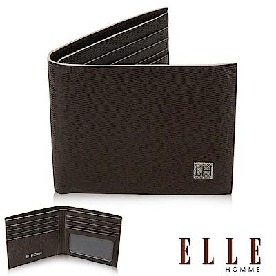 福利品ELLE 菱格紋系列 義大利頭層牛皮 單層鈔票/多層證件/名片設計短夾- 咖啡色