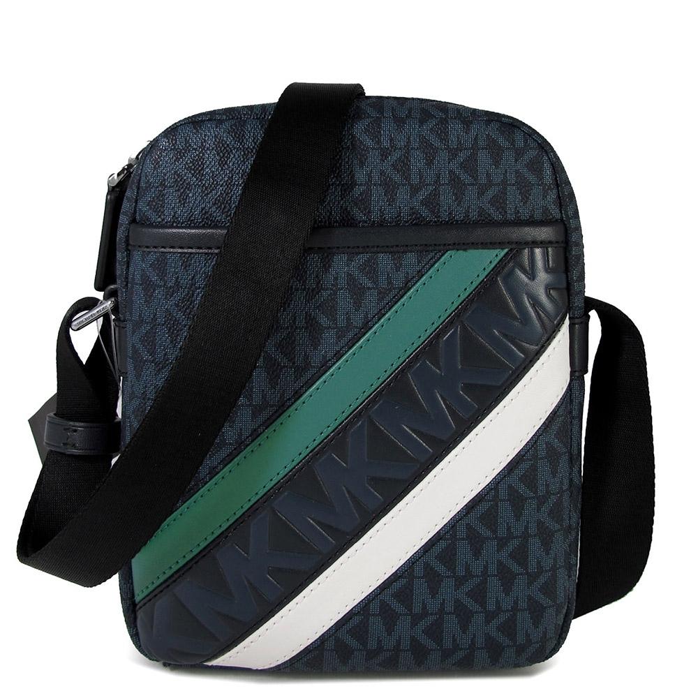 MICHAEL KORS Cooper 防潑水Logo綠白斜紋皮革直立式飛行包(深藍色)