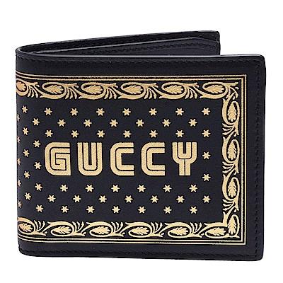GUCCI 經典Guccy系列燙金拱廊星星圖案小牛皮短夾(黑)