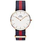 DW手錶 官方旗艦店 36mm玫瑰金框 Classic 經典藍紅尼龍帆布手錶
