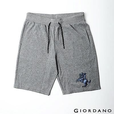 GIORDANO 男裝拿破崙刺繡針織短褲-41 雪花鯊魚皮灰