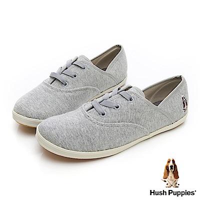 Hush Puppies 粉彩羅紋咖啡紗帆布鞋-灰色