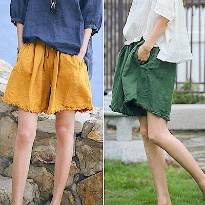 短褲-手工毛邊亞麻寬鬆2色-K8743-設計所在
