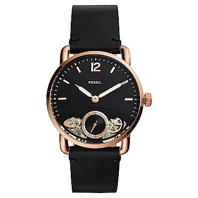 FOSSIL TWIST系列雙機芯小秒針手錶(ME1168)-黑x金框/42mm