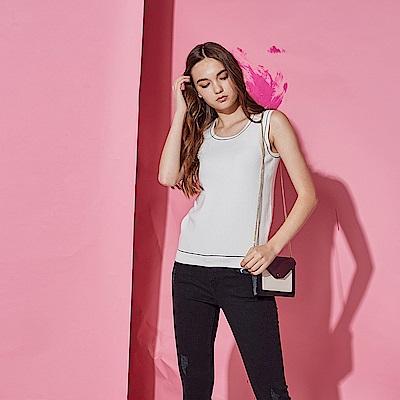 ICHE 衣哲 時尚簡約好感百搭配色針織造型無袖背心上衣-白