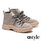 短靴 astyle 帥氣時髦雙色綁帶全真皮登山短靴-灰 product thumbnail 1